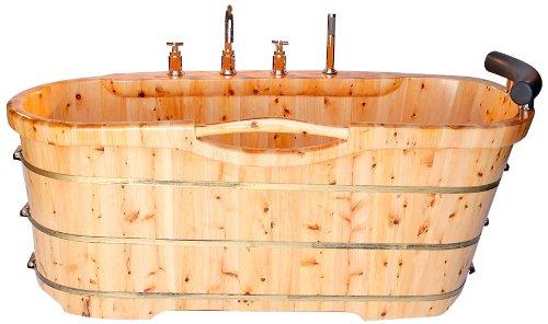 ALFI brand AB1136 61-Inch  Free Standing Cedar Wood Bath Tub with Chrome Tub Filler by Alfi