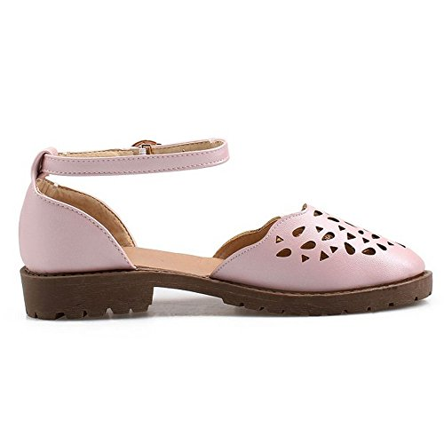 Strap Ankle Fashion LongFengMa Women's Toe Flats Out Closed Hollow Pink Sandals Classic n66T1xfAq