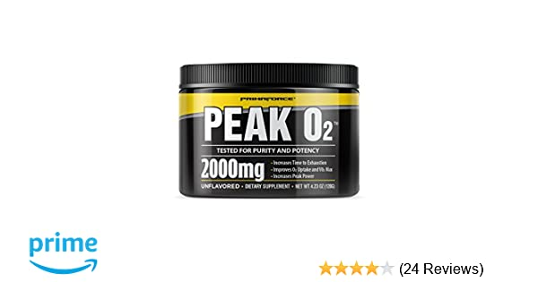 Amazon.com  PrimaForce Peak O2 Powder Supplement, 120 Grams – Improves O2  Uptake   VO2 Max   Increases Time to Exhaustion   Enhances Peak Power   Health ... d9f7f37d2e5