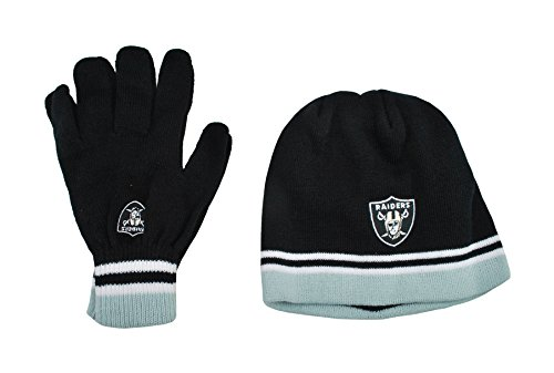 (Reebok Youth Oakland Raiders Beanie and Gloves NFL Football)