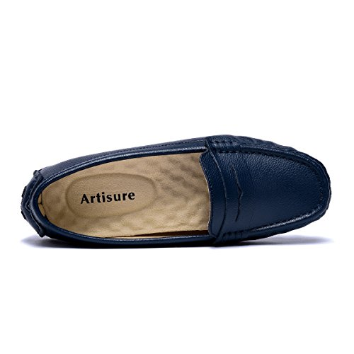 Moccasins Shoes Boat Classic Slip Fashion Flats ARTISURE Casual Women's Genuine Loafers Penny Leather On Driving Blue Comfort qxx407