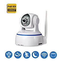 AndThere IP Camera FHD 1080P Wireless Security Home Monitor Network Webcam Pan/Tilt WiFi CCTV Surveillance With 2 Way Audio Night Vision for Mac/PC/iPhone/ Android Phone