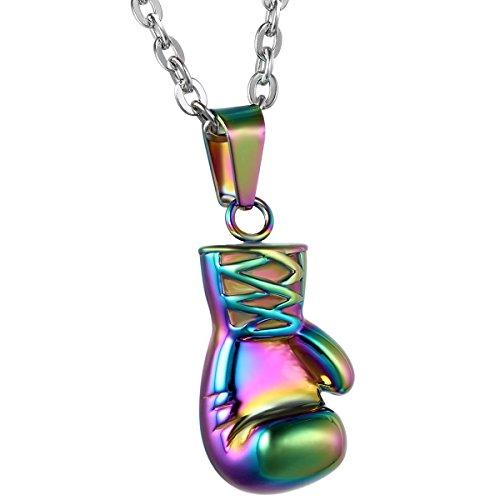 JewelryWe Schmuck Edelstahl Herrschsüchtige Boxhandschuhe Männer Anhänger mit Halskette, Herren Kette, Silber Schwarz Gold, mit Geschenk Tüte