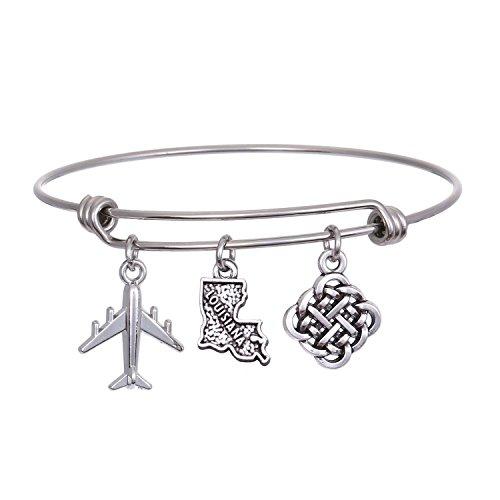 (JJTZX State Bangle U.S. Map Charm Expandable Travel Bracelet Long Distance Relationship Gift (Louisiana))