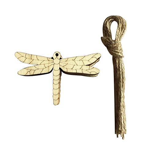 discountstore145 10Pcs Wood Owl Snail Bee Easter Hanging Pendant Ornaments Home Decor with Rope Dragonfly from discountstore145