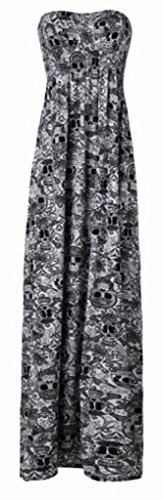 FashionMark Women's Skull Face Sheering Maxi ML (10-12) Black Skull (Skull Dress For Women)
