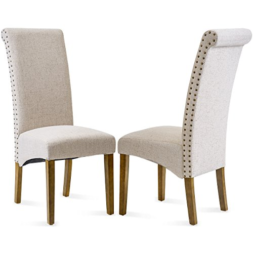 (Merax Dining Chair Set of 2 Fabric Padded Side Chair with Solid Wood Legs, Nailed Trim(Beige))