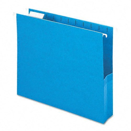 2'' Capacity Closed Side Flexible Hanging File Pockets, Letter, Sky Blue, 25/Box by Smead
