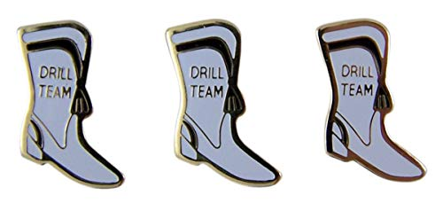 White and Gold-Toned Drill Team Boot Enamel Lapel Pins, 7/8 Inch, Pack of 3 (Boots Drill)