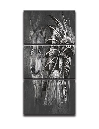 Wolf Indian Poster - Wall Pictures for Living Room Canvas Print Posters and Prints Modern Home Decor Painting Native American Indian with Wolf Artworks Black and White 3 Piece Framed Ready to Hang (16x24 Inch/3pcs)