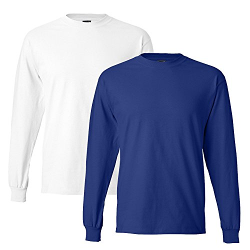 Hanes mens 6.1 oz. Long-Sleeve Beefy-T(5186)-DEEP ROYAL/WHITE-L