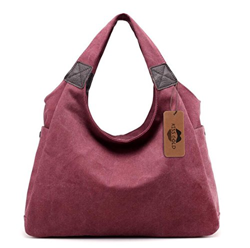 (KISS GOLD(TM) Simple Style Canvas Tote Hobo Bag Shopper Handbag For Womens, Model B-Purlish Red)
