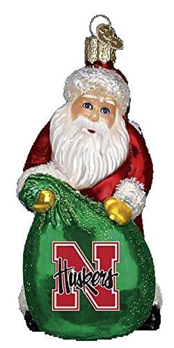Nebraska Cornhuskers Santa - Old World Christmas University of Nebraska Cornhuskers Collegiate Collection Santa Glass Christmas Ornament