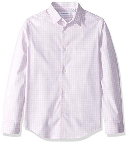 Calvin Klein Big Boys' Long Sleeve Plaid Button-Down Dress Shirt, Pink Candy, - Dresses Pink Candy