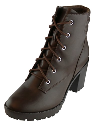 Toe Up Round Lace Bootie Padded Block Collar Select Brown Heel Womens Lug Ankle Sole Chunky Closed Cambridge qFCwxUIYw