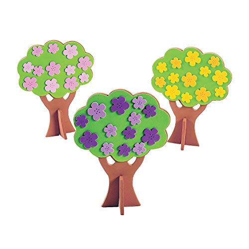 Fun Express 3D Spring Tree Craft Kit | Makes 12 | Great for Spring Themed Event, Art Supply, Classroom Activity, Kid's Birthday Party, Prizes & Favors