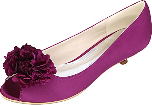 Flower Sandals Comfort Dress 0700 Heel Purple Low Wedding Toe Bridesmaid Smart Fashion Work Bride Ladies Party Satin Prom Peep Salabobo 01h PZqxwHXX