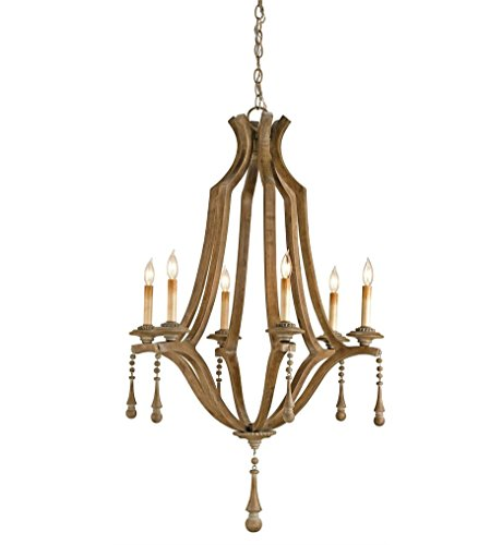 Currey Company 9256 Chandelier with No Shades, Washed Wood Finished