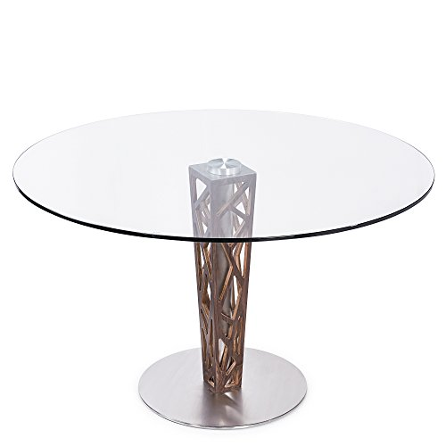 "Crystal Round Dining Table in Brushed Stainless Steel finish with Gray Walnut Veneer Column and 48"" Glass Top - Armen Living"
