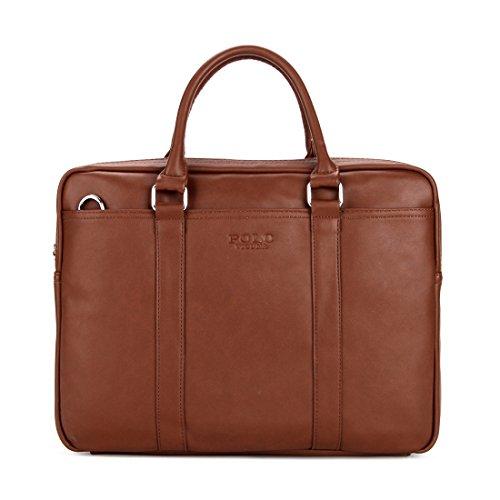 VICUNA POLO Briefcases For Men Leather Laptop Handbag Mes...
