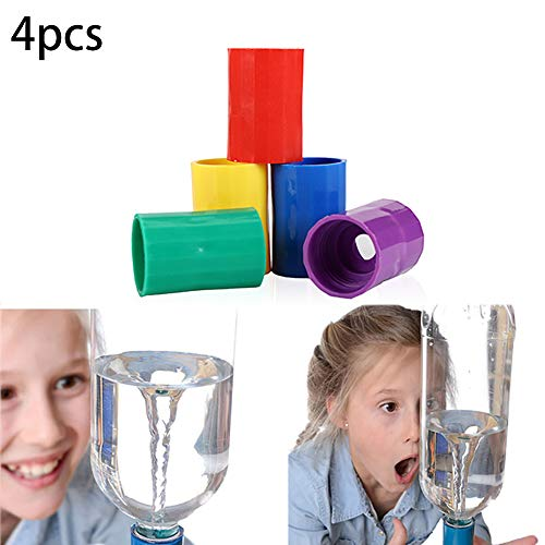 Hilai 4pcs Bottle Connectors Tornado Connector Cyclone Tube Creative Design Vortex Bottle Connector Novelty Tornado Maker Science Toy for Scientific Experiment and Test(Yellow Purple Red and Green) ()