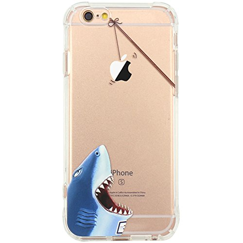 JAHOLAN iPhone 6 Case, iPhone 6S Case Amusing Whimsical Design Clear Bumper TPU Soft Case Rubber Silicone Skin Cover for iPhone 6 6S - Hungry Shark