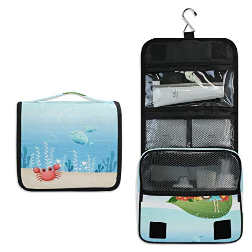 Hanging Toiletry Bag Girl With Animals In Leaf Boat Waterproof Wash Bag Makeup Organizer for Bathroom Men Women