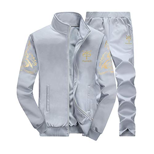 (GOVOW Autumn Winter Sweatshirts for Men Thicken Top Pants Sets Sports Suit Tracksuit(US:8/CN:M,ZY-Gray ))
