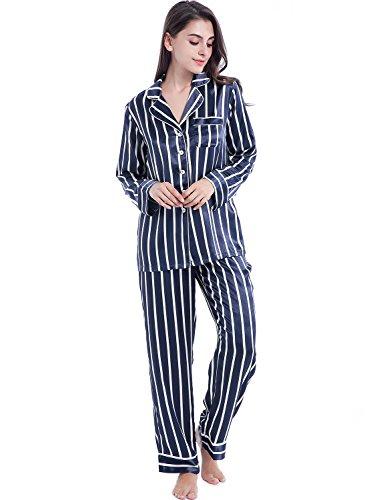Serenedelicacy Womens Silky Satin Pajamas, Button Up Long Sleeve PJ Set Sleepwear Loungewear