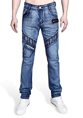 con Lavado De A Vaqueros Chicos Vintage Los Pantalones Hechos Denim Clásico Mano Vaqueros Estiramiento Inserción Casual Fit T027 Slim Asimétrica Hombres De ZWRP4nqz