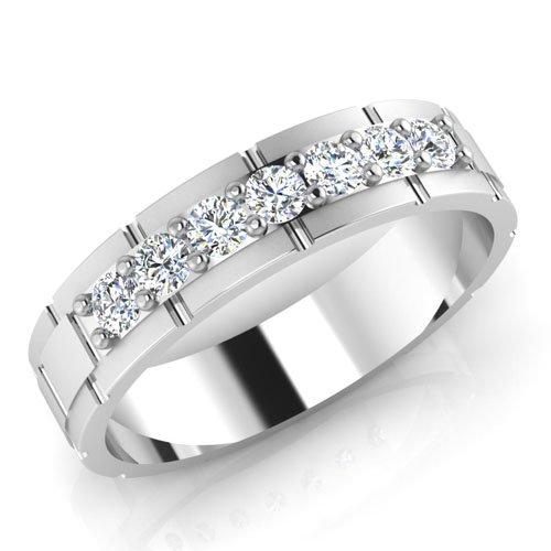 0,36 Ct redondo Natural Diamond anillos de boda para hombre 14 K oro blanco