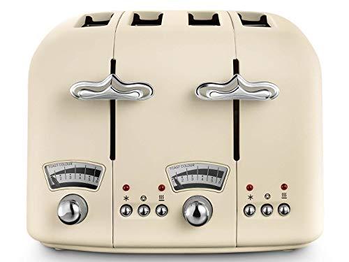 DeLonghi CTO4.BG Argento Flora 4-Slice Toaster 1800W (Beige) (Renewed)