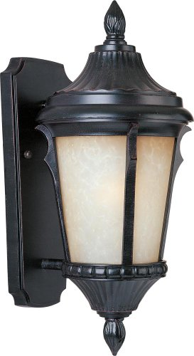 Maxim 3013LTES Odessa Cast 1-Light Outdoor Wall Lantern, Espresso Finish, Latte Glass, MB Incandescent Incandescent Bulb , 40W Max., Dry Safety Rating, 2900K Color Temp, Standard Dimmable, Glass Shade Material, 6750 Rated Lumens (Odessa Wall Outdoor Light Fixture)