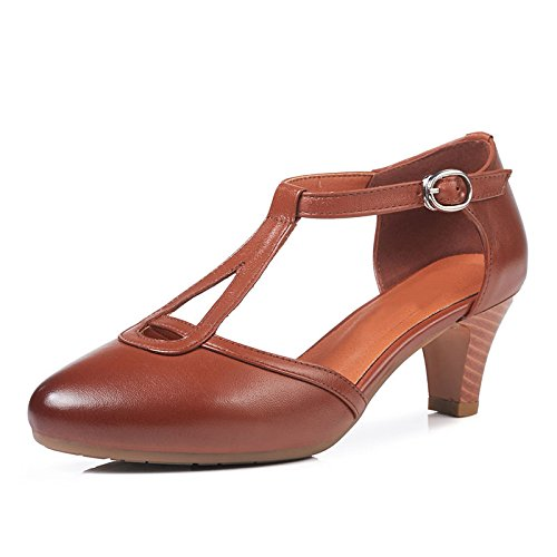 Strap Shoes Heel Shoes Sandals Pumps Summer Ladies Ankle Party Brown Dress Court Hollow Women Leather Block For Daily xfxqwB0X