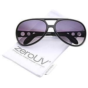 zeroUV - Large Elvis King Of Rock & Roll Aviator Sunglasses 63mm (Black / Lavender)