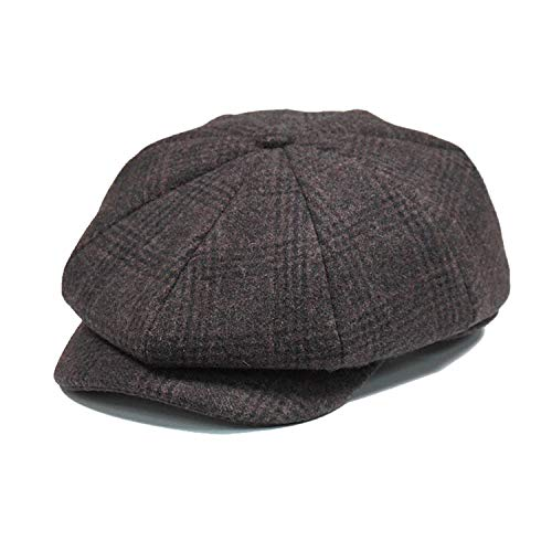 Mens Plaid Flat Baret Cap Wool Brown Winter Vintage Newsboys Hats Male British ()