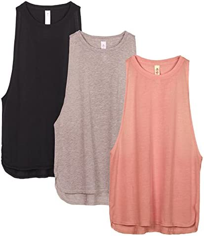 icyzone Workout Tank Tops for Women - Running Muscle Tank Sport Exercise Gym Yoga Tops Athletic Shirts(Pack of three)