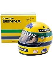 Ayrton Senna Mini Helmet-1:2 schaal Verzamelbaar Miniatuur AS-HS-1994, Geel/Groen/Blauw