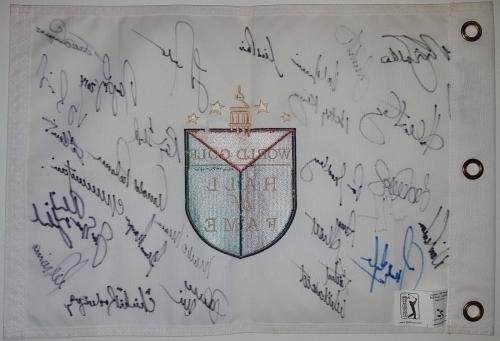ARNOLD PALMER JACK NICKLAUS PHIL MICKELSON +26 Signed Golf Hall of Fame Flag JSA Certified Autographed Golf Equipment