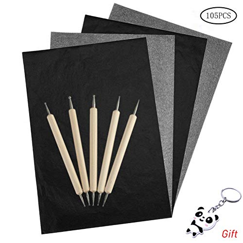 Fashion Road 100 Sheets Carbon Paper, Black Graphite Transfer Tracing Paper with 5Pcs Embossing Stylus for Wood, Paper, Canvas and Other Art Surfaces (8.5 x 11.5 Inch)