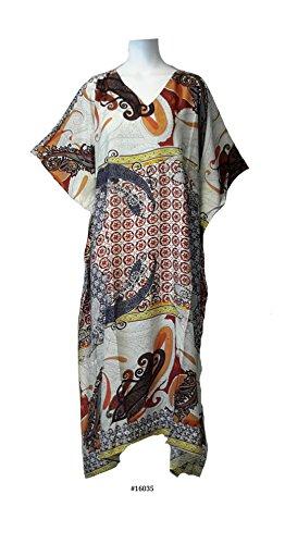 (44620) Mujer Blue 100% algodón Woven Printed Short Sleeves Long caftan/Caftán. 15