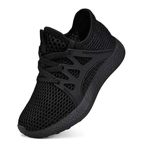 Sunnycree Kids Sneakers Ultra Breathable Mesh Lightweight Athletic Sport Running Tennis Shoes for Boys Girls Black 13 (Size 13 Boys Sneakers)