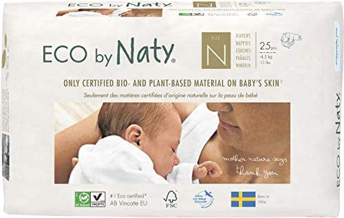 Eco by Naty Premium Disposable Baby Diapers for Sensitive Skin, Size Newborn (Pack of 100) (Chemical, Dioxin, Fragrance Free)
