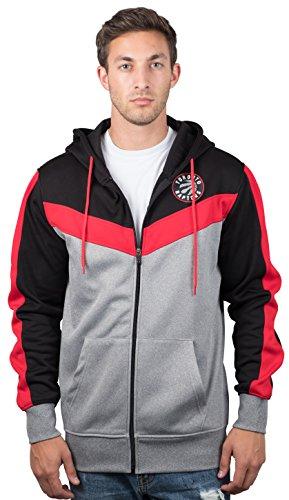 UNK NBA Toronto Raptors Men's Full Zip Hoodie Sweatshirt Jacket Back Cut, Large, Black