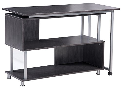 Merax L shaped Rotatable puter Desk with Wheels Gray