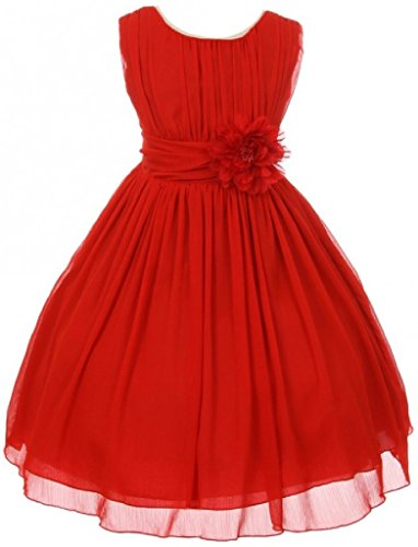 Big Girls' Elegant Yoryu Wrinkled Chiffon Summer Flowers Girls Dresses Red 14 G35G34