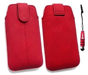 Emartbuy  Stylus Pack Para Htc Rhyme Red Slide Con Seguridad En Pu Funda/Estuche / Manga/Soporte (Tamaño 1) Con Mecanismo Pull Tab + Mini Metallic Red Stylus + Protector De Pantalla