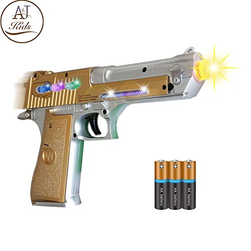 ANJ Kids Toys - Pretend Play Toy Gun for Boys | Toy Pistol Gun with Flashing Lights and Sound | Detailed Craft with Rapid Firing and Vibrating (Age 3+, Batteries Included) (Golden Pistol) -