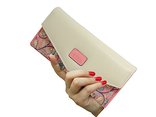 SeptCity Womens Wallet Floral Leather Western Trifold Clutch Gift for Her,2021 (Pink) - Pink Floral Wallet