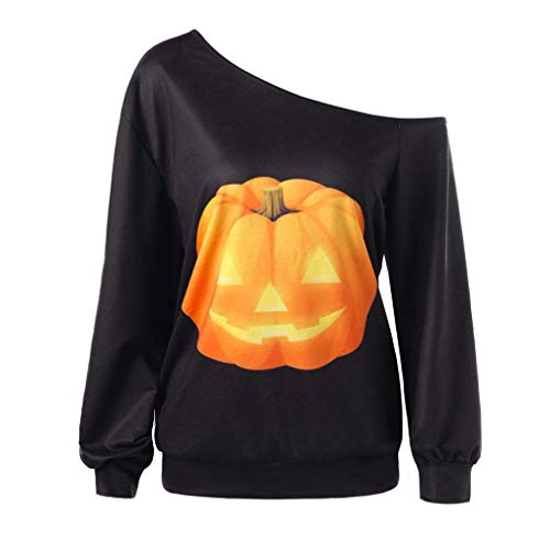DEATU Women Clearance Shirt,Ladies Teen Halloween Pumpkin Funny Print Long Sleeve Sweatshirt Pullover Tops Blouse (Black,S) from DEATU